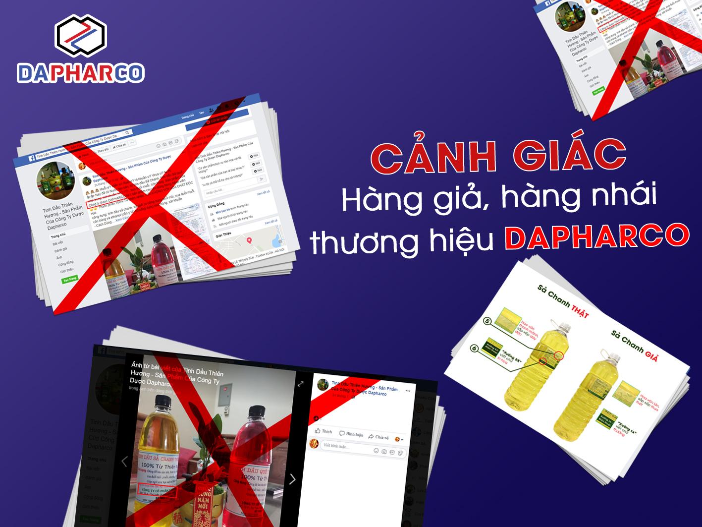 Thông báo cảnh giác hàng giả, hàng nhái thương hiệu DAPHARCO